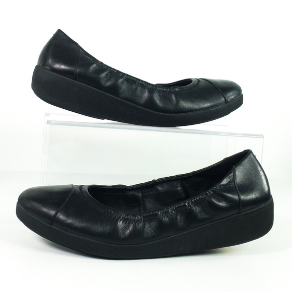 b4484bacbcdb Fitflop Shoes - FitFlop Ballet Flat Black Leather Toning Rocker